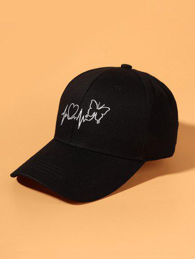 Butterfly Heart ECG Embroidery Baseball Cap - Black