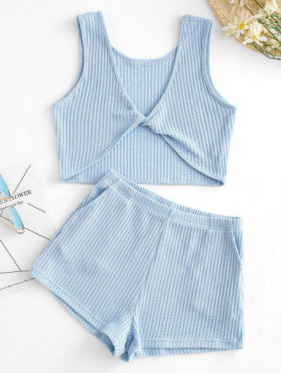 Knitted Twisted Pocket Shorts Set - Blue S