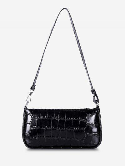 Minimalistic Embossed Rectangle Shoulder Bag - Black
