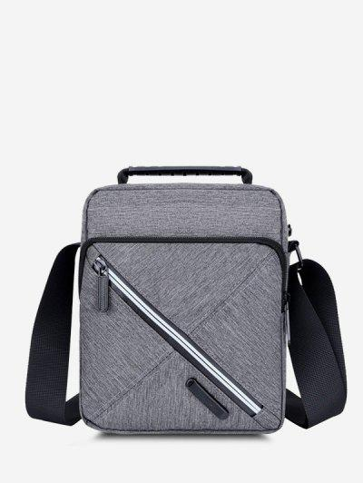Contrast Zip Square Shoulder Bag - Gray