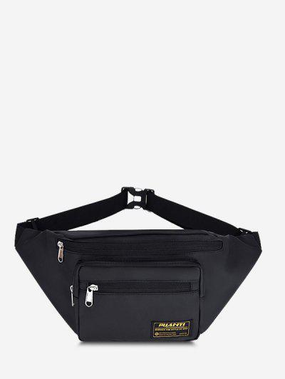 Letter Label Outdoor Waist Bag - Black