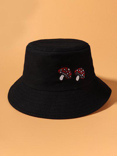 Mushroom Embroidery Bucket Hat - Black