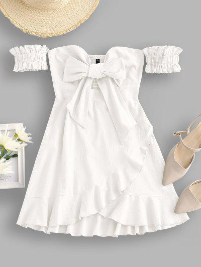 Off Shoulder Ruffle Smocked Tie Front Dress - White M