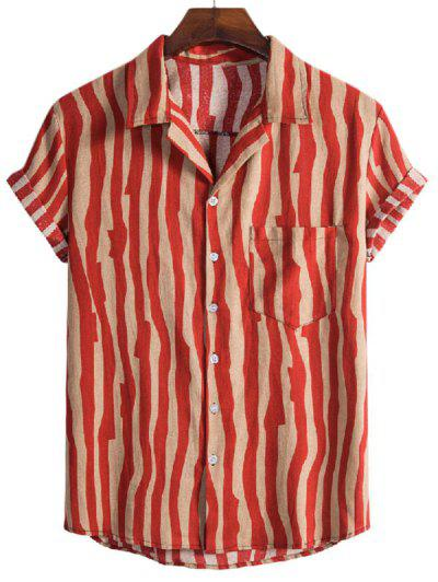 Irregular Stripe Short Sleeve Shirt - Red M