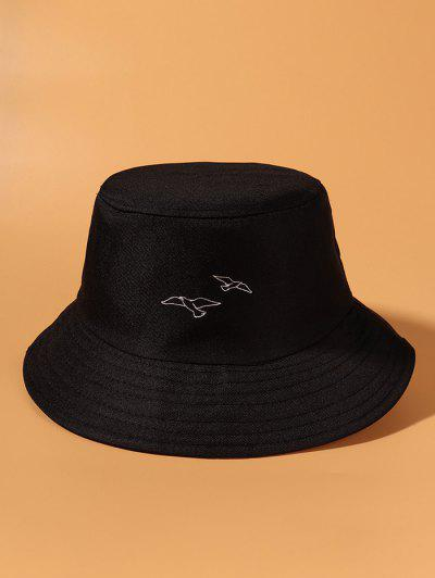 Pigeons Embroidered Bucket Hat - Black