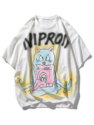 Letter Cat Devil Print Drop Shoulder T Shirt - White Xl