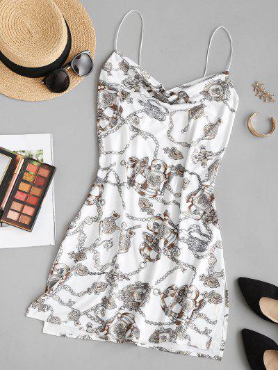 Baroque Chain Print Side Slit Cowl Neck Dress - Multi M