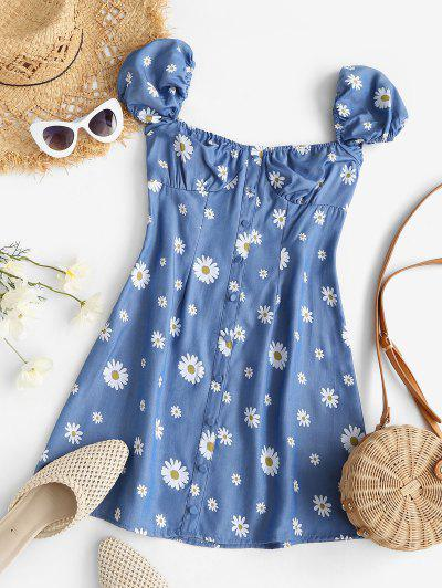 Chambray Daisy Print Puff Sleeve Milkmaid Dress - Blue L