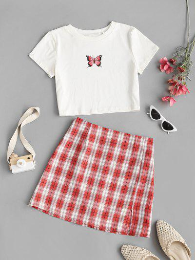 Cropped Butterfly Print Tee And Plaid Skirt Set - Red L