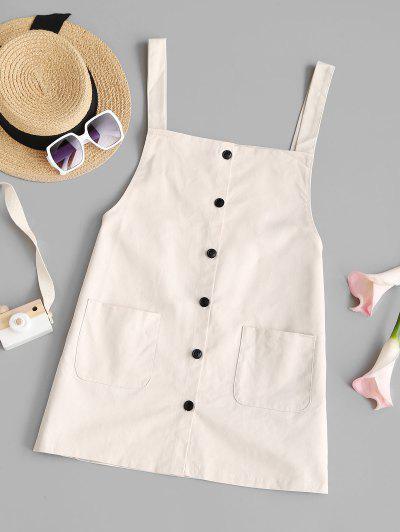 Button Up Mini Pinafore Dress - White S