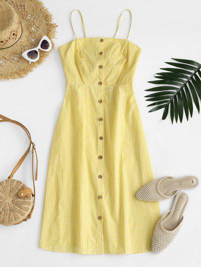 Cutout Checked Button Dress - Yellow L