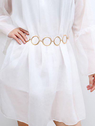 Metal Circles Dress Waist Chain - Golden
