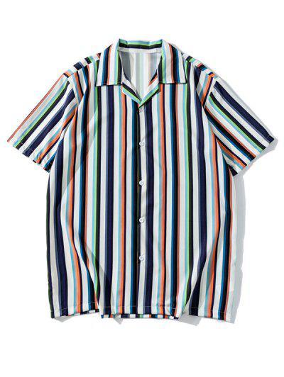 Multicolored Stripe Casual Short Sleeve Shirt - Lapis Blue L