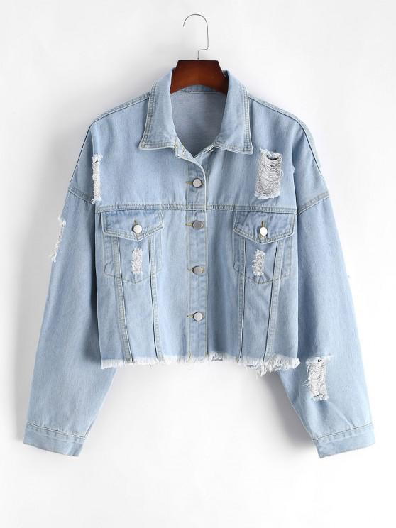 Plus Size Distressed Light Wash Denim Jacket - أزرق 3XL