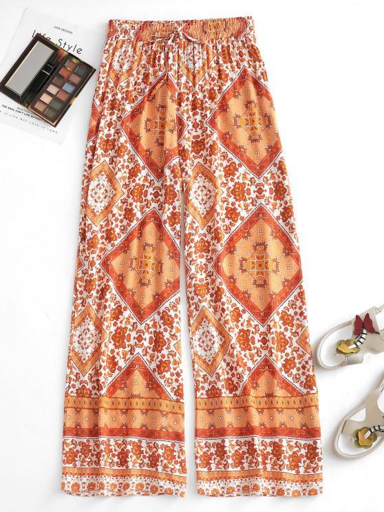 womens Drawstring Bohemian Bandana Printed Culottes Pants - DARK ORANGE M