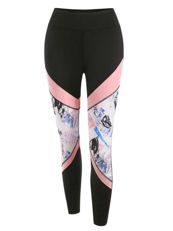 ladies Stitching Colorblock Printed Sports Leggings - BLACK M