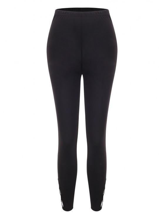 affordable Solid Lattice Side High Waisted Leggings - BLACK L