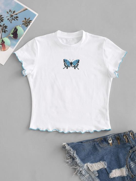 ladies Lettuce Trim Butterfly Print Baby Tee - WHITE S