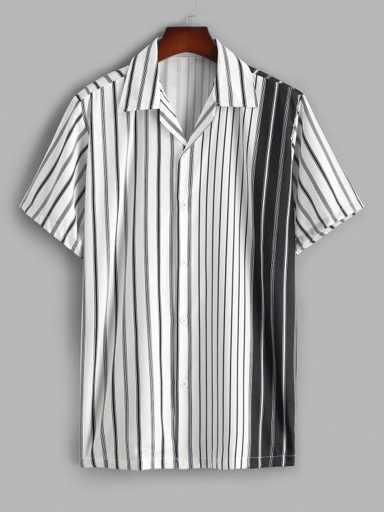 new Silky Colorblock Vertical Striped Casual Shirt - WHITE L