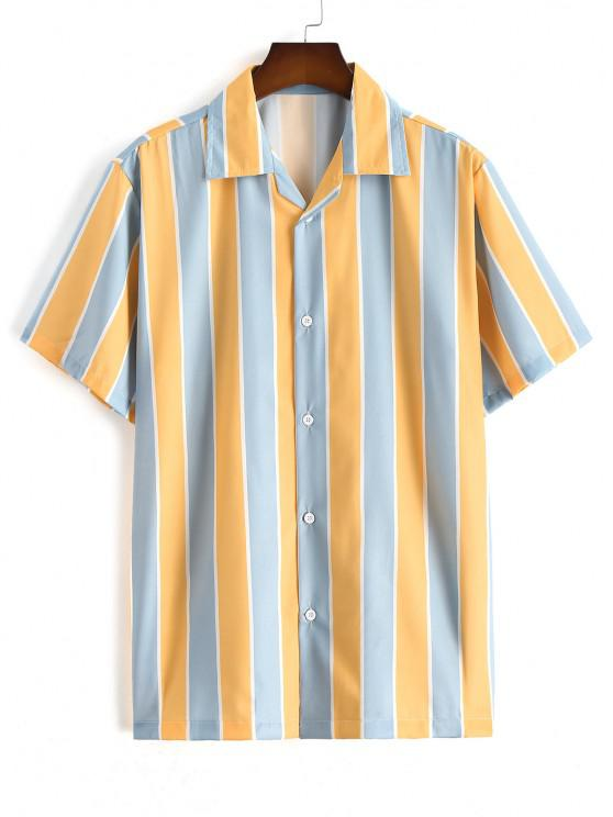 trendy Mixed Contrast Striped Casual Shirt - SUN YELLOW L