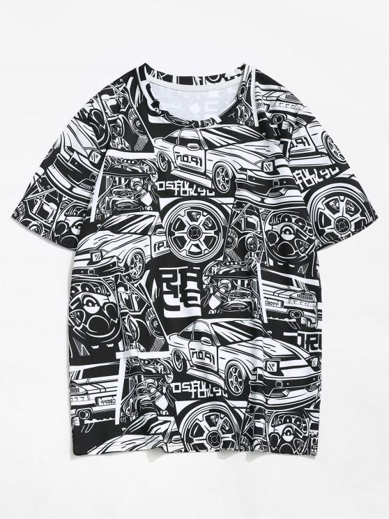 Car Vehicle Figure Short Sleeve T-shirt - أسود M