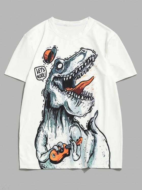 womens Playing Music Dinosaur Short Sleeve T-shirt - WHITE XXL