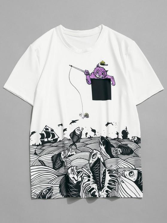 Kurzarm Katze Meer Fische Drucken T-Shirt - Weiß XXL