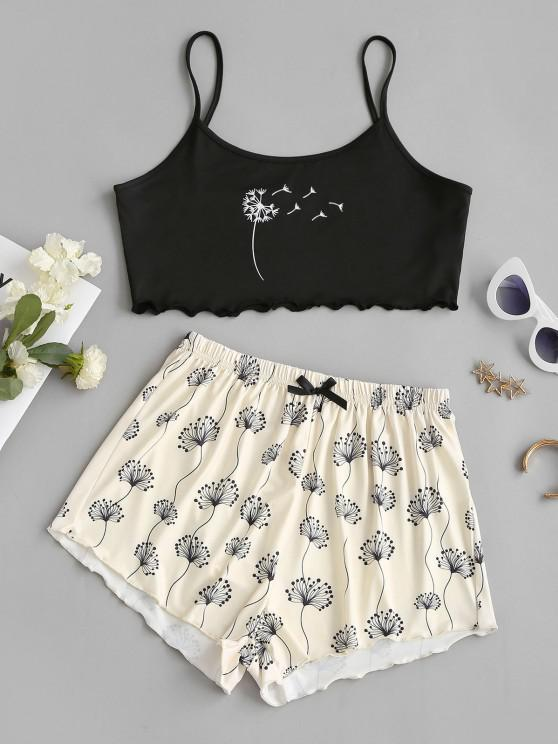 outfit Dandelion Print Lettuce-trim Camisole and Shorts Set - LIGHT COFFEE S