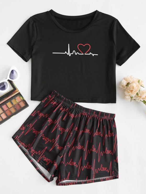 shop Valentine Lettering Heart Lounge Two Piece Set - BLACK M