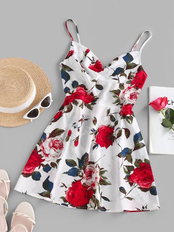 ZAFUL Robe D'Eté Fleur Imprimée à Bretelle avec Nœud Papillon - Blanc M