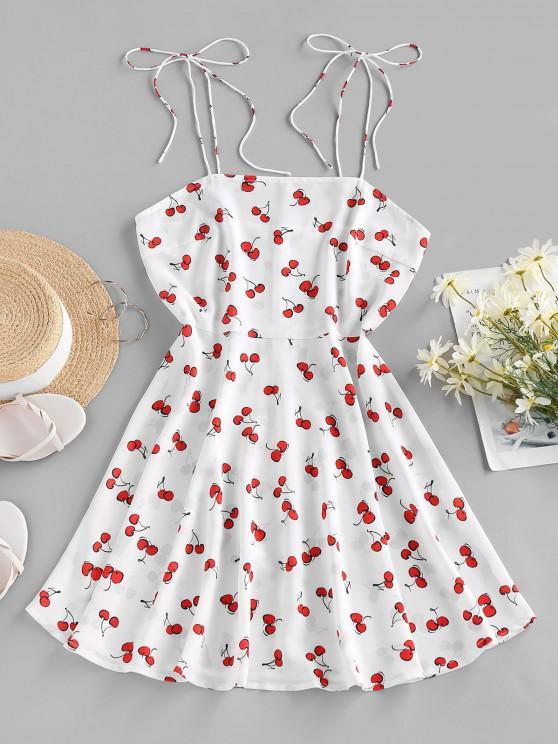 best ZAFUL Cherry Print Tie Shoulder Mini Dress - WHITE L