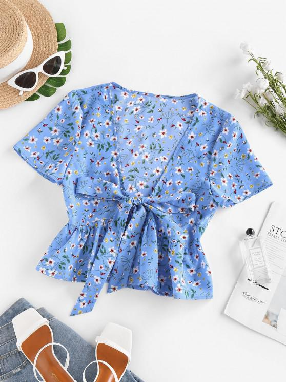 buy ZAFUL Flower Print Tie Front Peplum Blouse - BLUE L