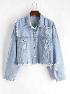 Plus Size Distressed Light Wash Denim Jacket - Blue 3xl