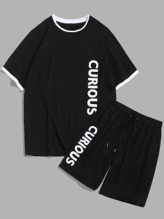 ZAFUL Letter Print T-shirt And Sports Shorts Set - Black M