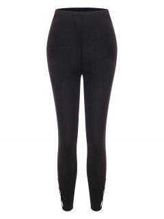 Solid Lattice Side High Waisted Leggings - Black M