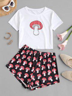 Mushroom Print Tee And Shorts Set - Red M