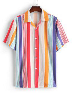 Silky Fruit Striped Short Sleeve Shirt - Red M