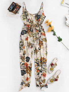 Belted Floral Leaves Tie Hem Jogger Jumpsuit - Multi-a L
