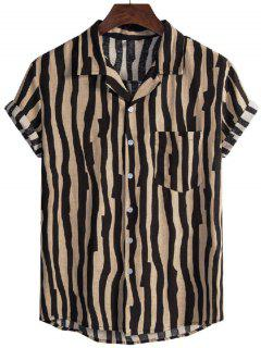 Irregular Stripe Short Sleeve Shirt - Black M