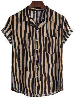Irregular Stripe Short Sleeve Shirt - Black Xl