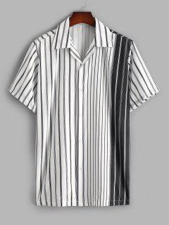 Silky Colorblock Vertical Striped Casual Shirt - White M