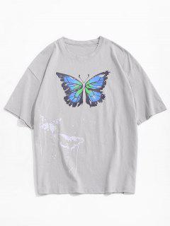 Painting Splash Butterfly Short Sleeve Tee - Gray L