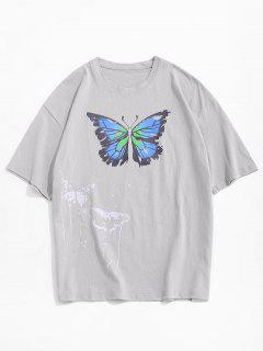 Painting Splash Butterfly Short Sleeve Tee - Gray Xxl