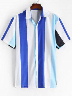Striped Color Blocking Button Up Shirt - Ocean Blue L