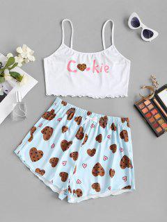 Funny Heart Cookie Valentine Lounge Cami Set - Light Blue L