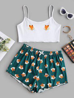 Cartoon Fox Print Lettuce-trim Camisole And Shorts Set - Deep Green S