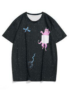 Galaxy Cat Short Sleeve T-shirt - Black L