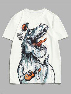 Playing Music Dinosaur Short Sleeve T-shirt - White S