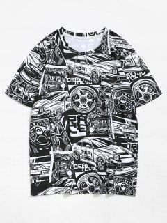 Auto Formharz T-Shirt Mit Buntes - Schwarz L