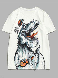Playing Music Dinosaur Short Sleeve T-shirt - White Xxl